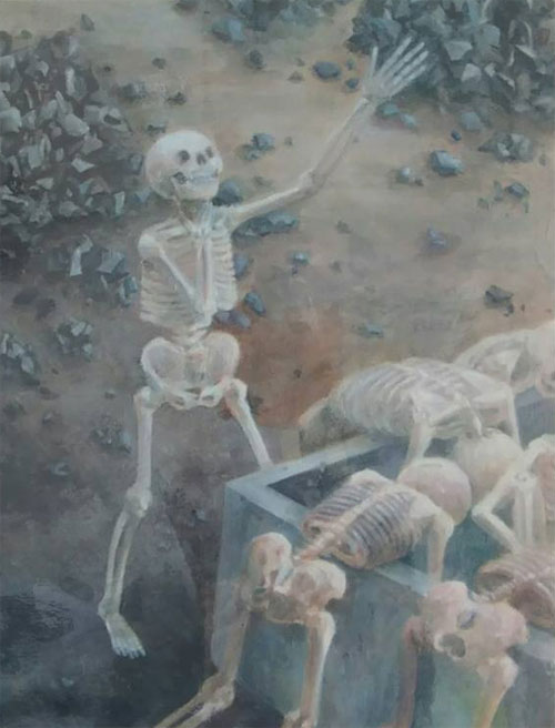 千田小学校の防火用水の傍らで、炎で焼かれて立ったまま白骨になっている死体を見た
