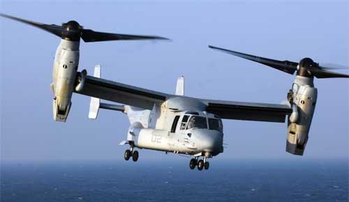 オスプレイ=通常の固定翼モードで高速飛行、垂直離着陸モードではヘリコプターのように垂直離着陸、ホバリングも出来る