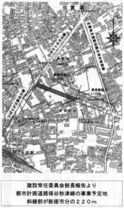 都市計画道路保谷秋津線の事業予定地 斜線部が新座市分の220m