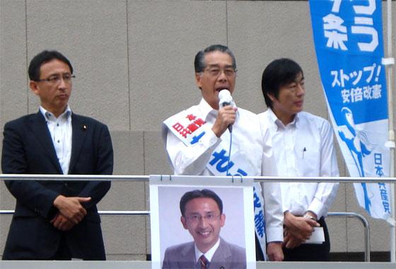 塩川鉄也衆議員議員とともに街頭から政策を訴える あさか英義(2017.9)