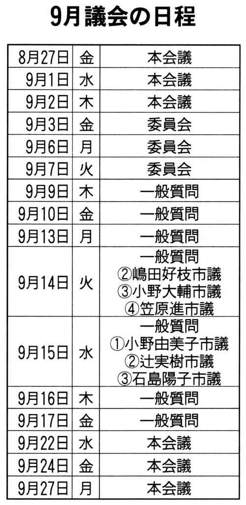 9月議会の日程